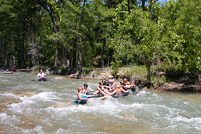 Fun Rapids on the Horseshoe Loop!  Guadalupe River Tubing - RiverSportsTubes.com  830-964-2450